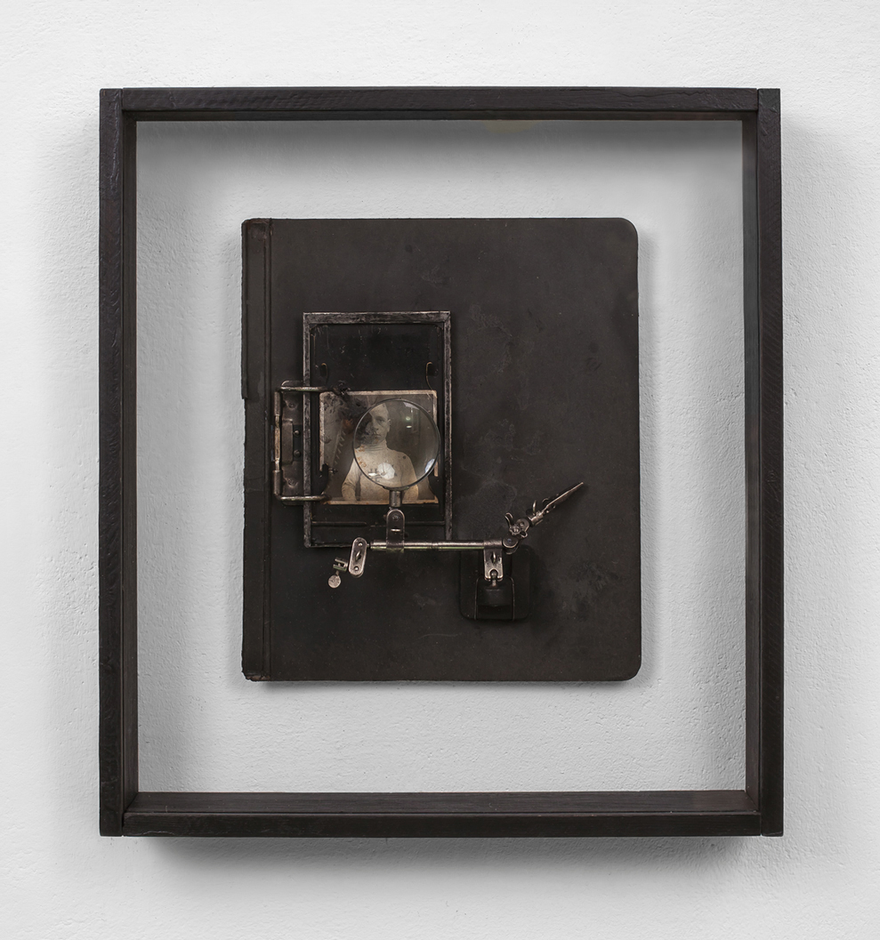POSSESIA / Origins - Document 03 /  2012 / 49 x 54 x 9 cm / vintage photograph print, document board, polyvinyl acetate, magnifying glass, soil, wood and glass box frame