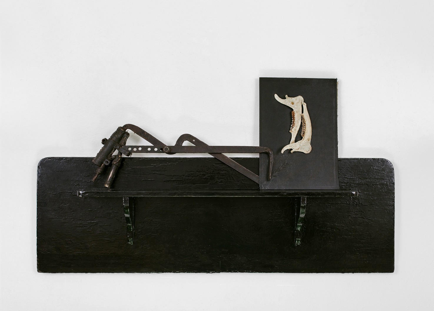 POSSESIA / Implement V / 2013 / 50 x 100 x 12 cm / shelf, old horse anatomy atlas cover, animal mandibles, tool, machinery parts
