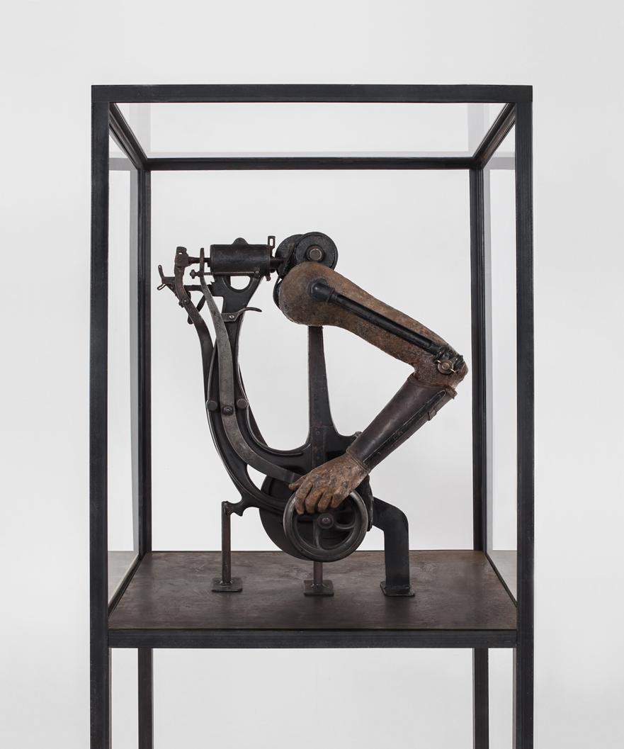 POSSESIA / Implement II / 2013 / 70 x 200 x 75 cm / old machine, steel, vintage manequin arm, prosthetic element, vitrine