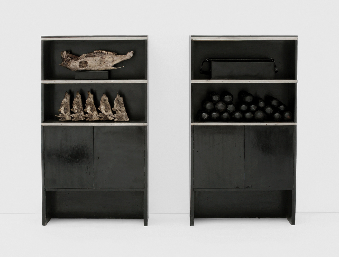 POSSESIA / Primal Elements II / 2010 / each piece 80 x 145 x 35 cm / pieces of furniture, glass, animal skulls, weights, leather