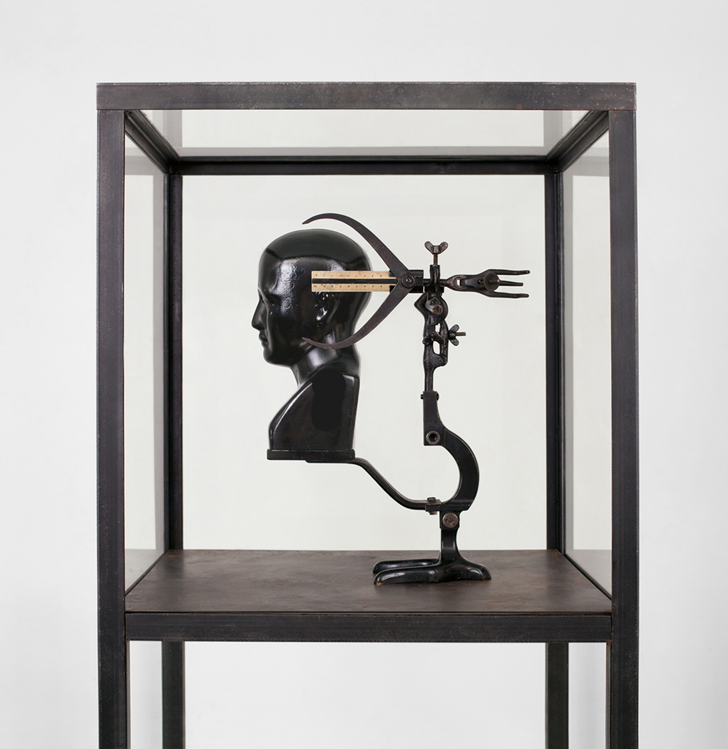 POSSESIA / Implement I / 2013 / 60 x 183 x 60 cm / porcelain head, enamel, found microscope stand, steel, pieces  of laboratory equipment, ruler, measuring instrument, vitrine