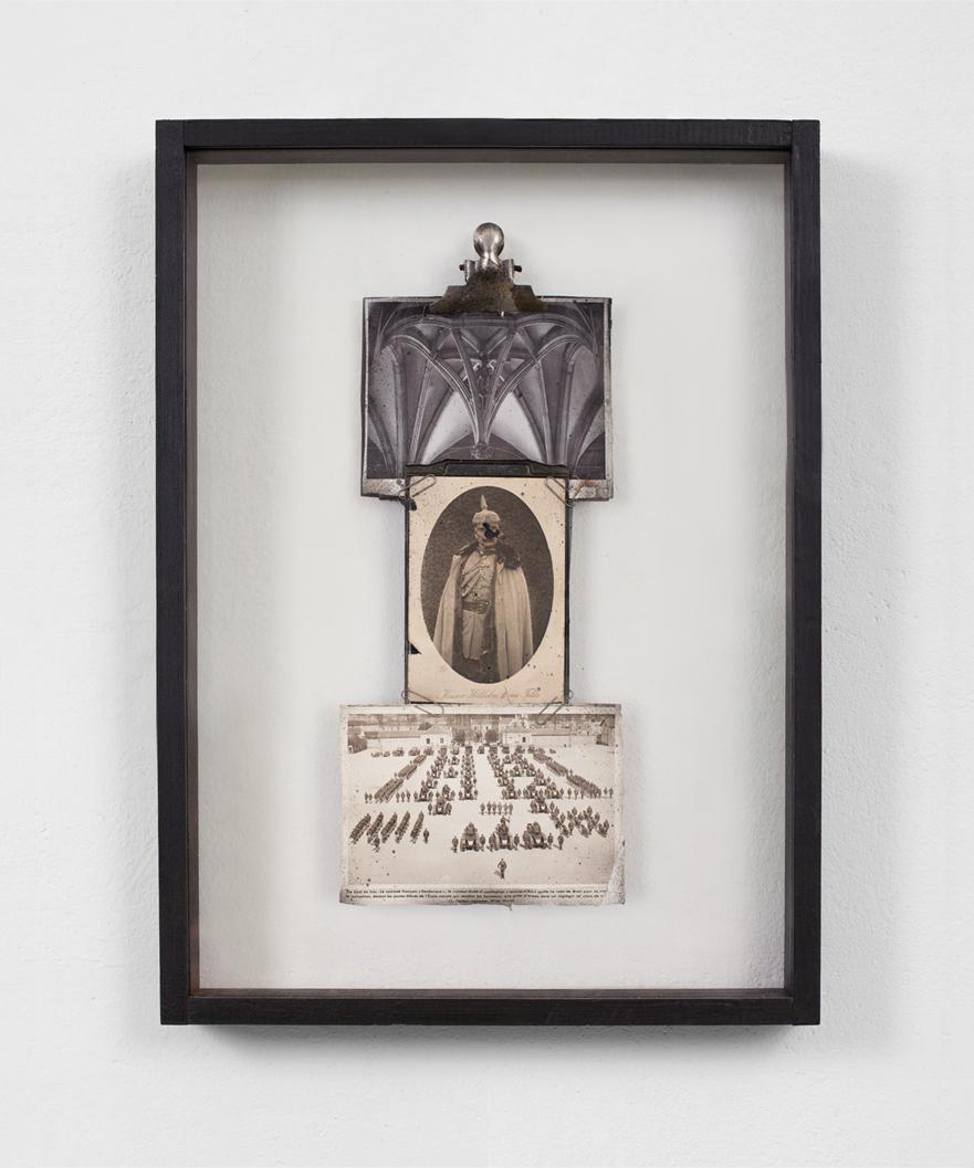 POSSESIA / Hierarchy /  2013 / 42 x 62 x 6 cm / vintage Kaiser Wilhelm postcard, found encyclopedia photographs, clips, wood and glass box frame