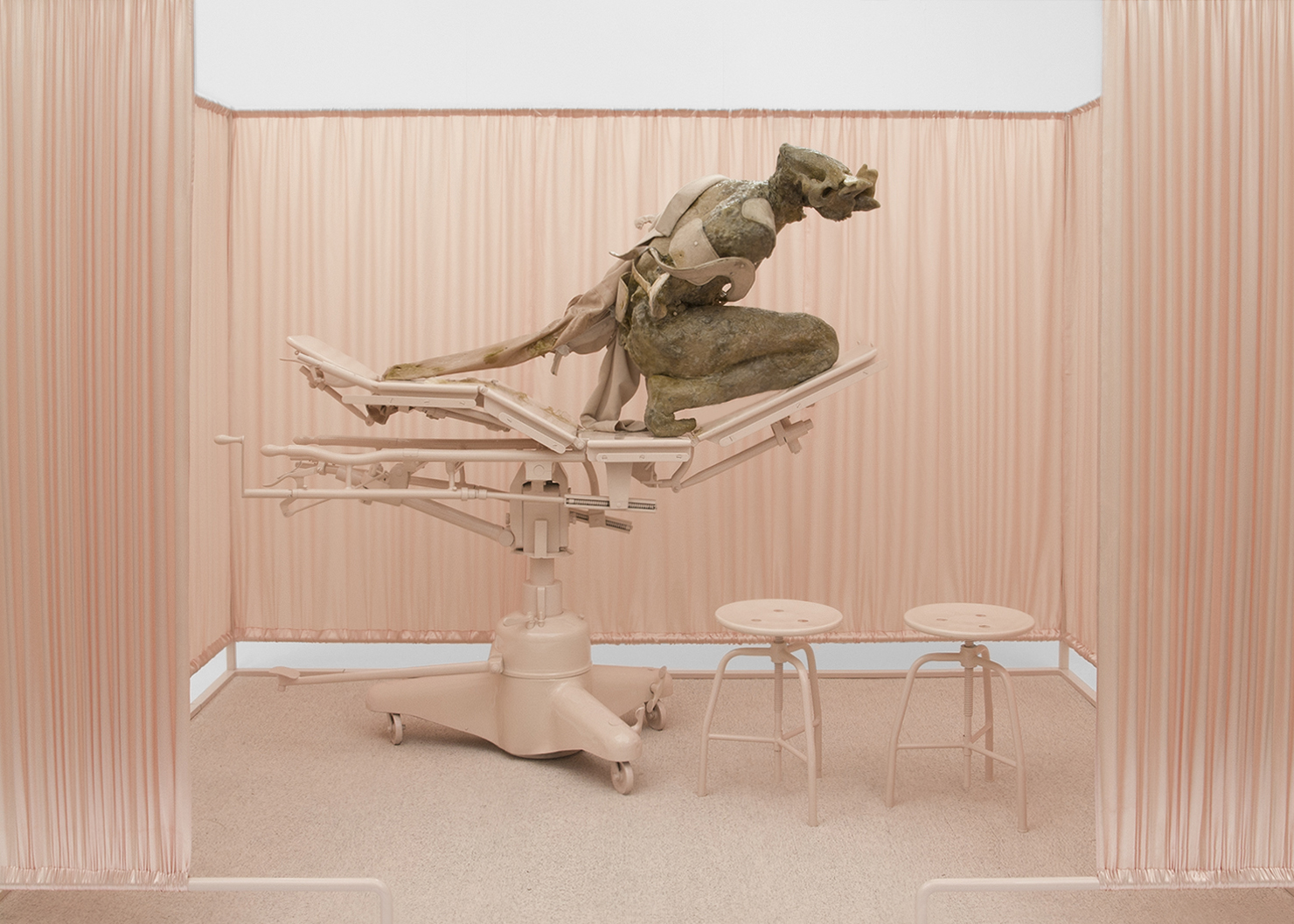 ONANIA / Aetiology Unknown 02 / 2012 / 300 x 200 x 190 cm  fat, leather, fur, cosmetics, fabric, polyvinyl acetate, enamel,  steel, surgical table and accessories