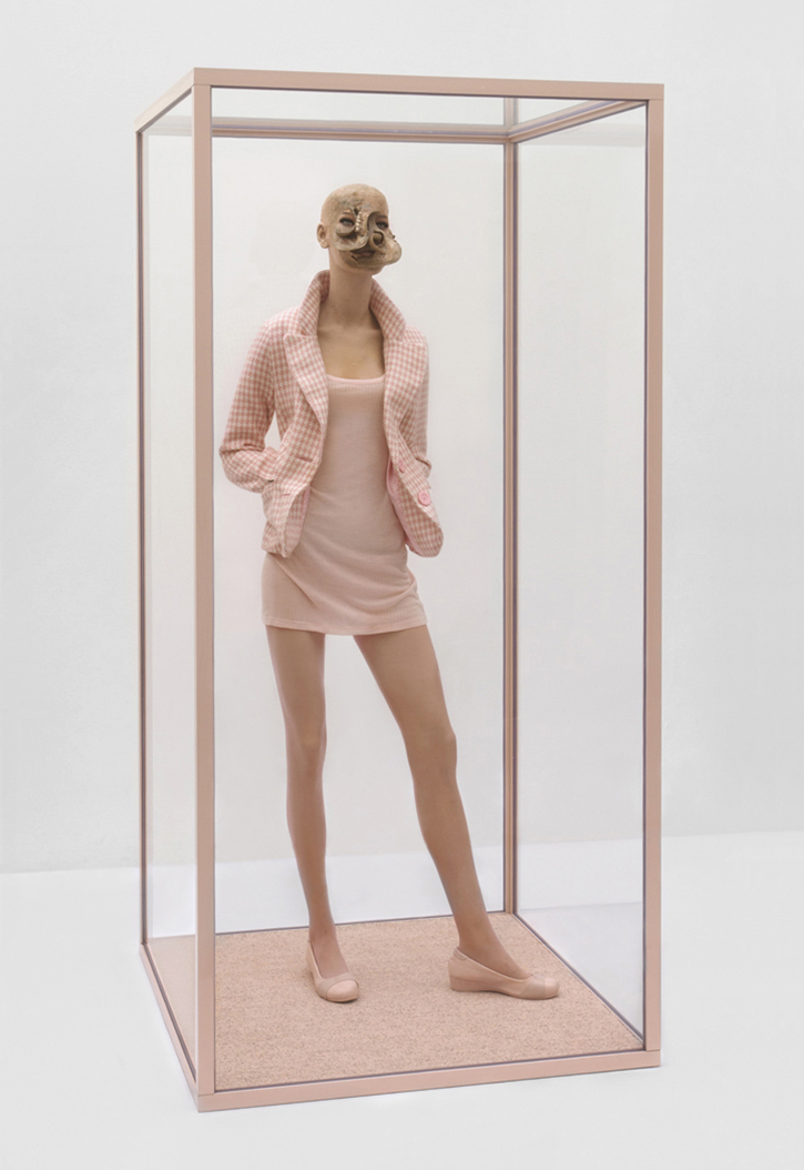 ONANIA /  Aetiology Unknown 29 / 2011 /  90 x 185 x 90 cm / fat, leather, fur, mannequin, clothes animal jaws, cosmetics,  polyvinyl acetate, vitrine
