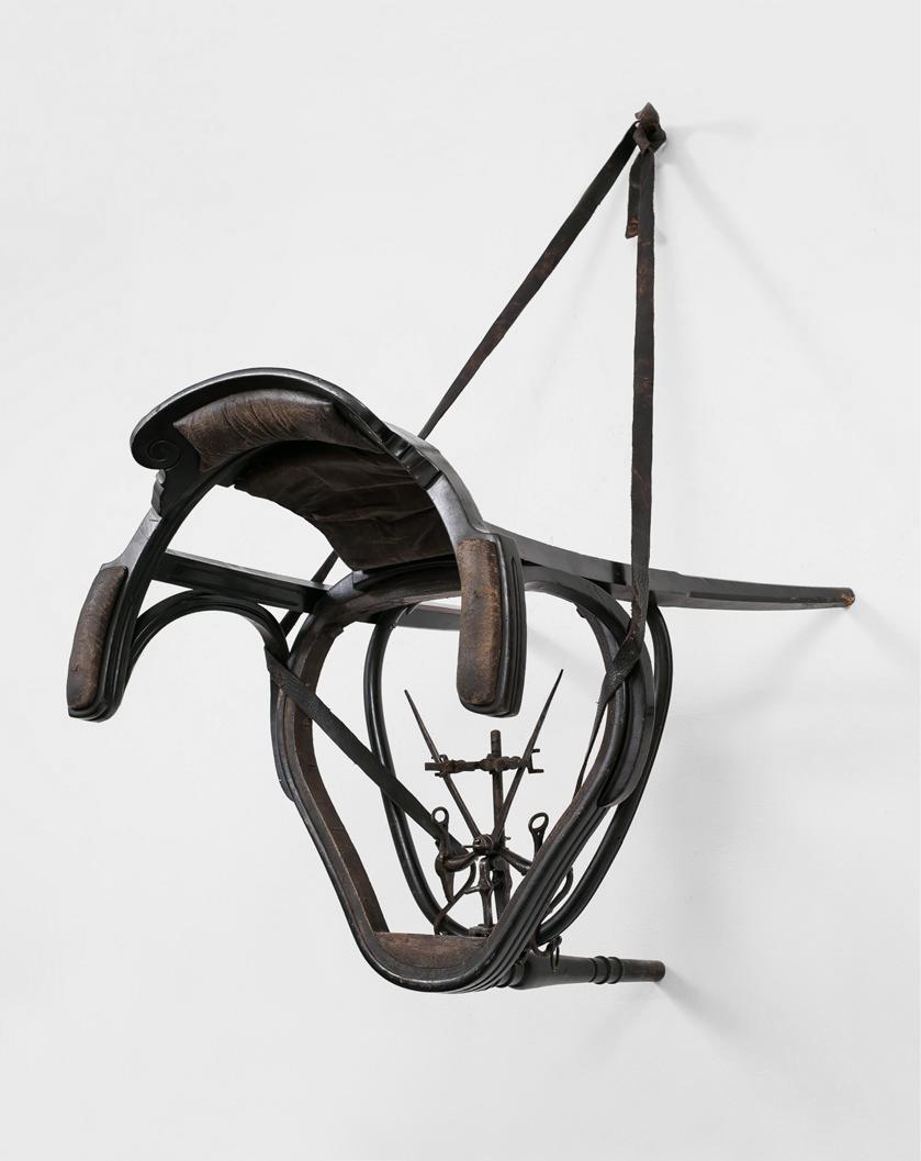 POSSESIA / Implement IX / 2013 / 65 x 127 x 84 cm / antique chair, measuring instrument, laboratory instrument, curb, leather, nail